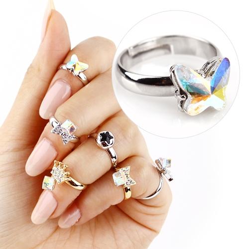 [사라센] 애끼반지 반지035 나비 실버클리어오팔