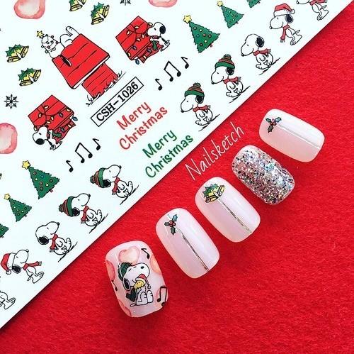[네일스케치] (5+1)워터데칼 네일 스티커 1026-크리스마스 강아지