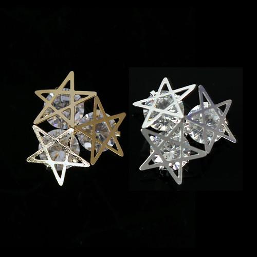 [플라워바이허니팟] 크리스탈 프레임 파츠 트리플 별 골드실버 2EA
