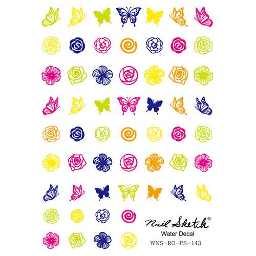 [네일스케치] 워터데칼 스티커 - 꽃나비 형광 - 143