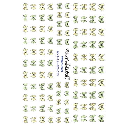 [네일스케치] 워터데칼 스티커 - 노랑그린리본 - 733