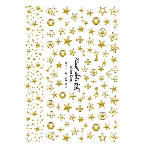 [네일스케치] 워터데칼 스티커 - 별 골드 - 637