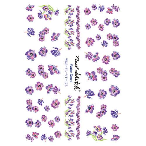 [네일스케치] 워터데칼 스티커 - 수채화 보라꽃 - 175