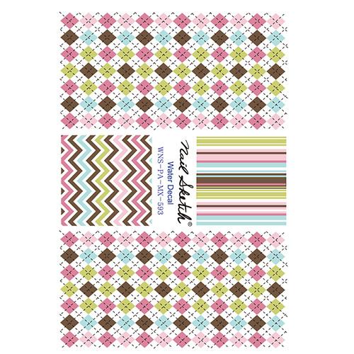[네일스케치] 워터데칼 스티커 - 체크 핑크 - 593