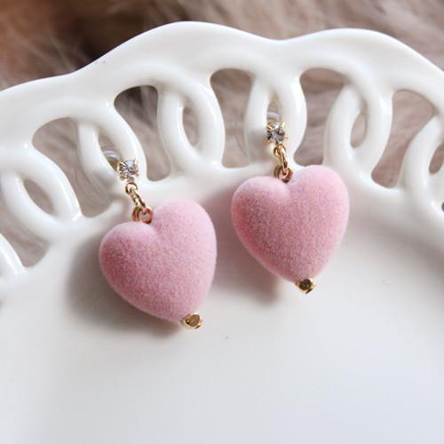 [러브미러브미] 미니 핑크 볼록 하트 귀걸이