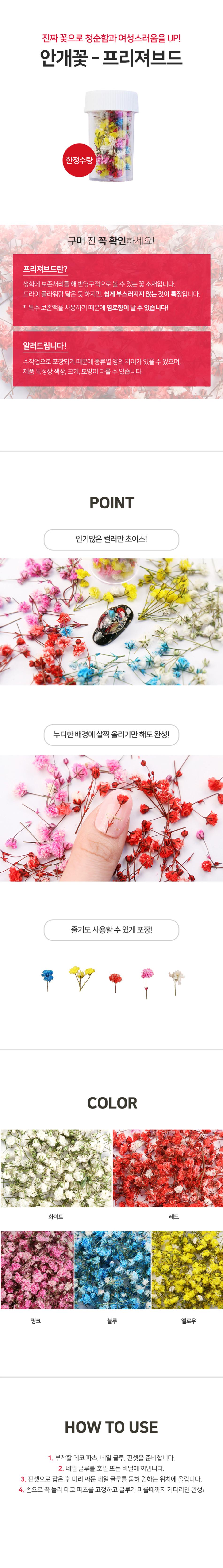 [네일스케치] 생화안개꽃 - 프리져브드