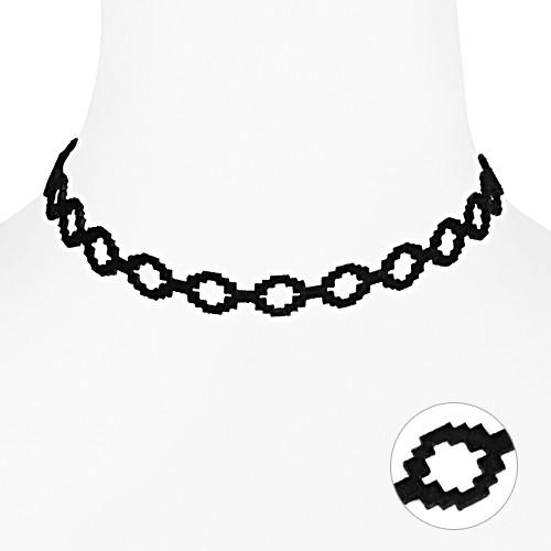 [글로리 아덴] 스웨이드 모자이크 패턴 초커 목걸이 / GHMN-081